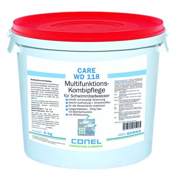 CARE WD 118 Clearwater 90 Aktivchlor 5kg Eimer MF-Kombipflege-Tabs 200g CONEL