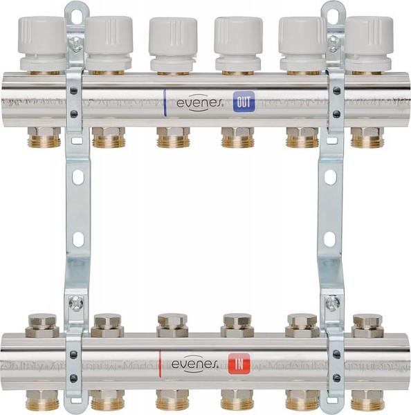 Heizkreisverteiler Evenes Typ M5.7, DN25 (1) Messing, 7 Heizkreise,m.Reguliervent