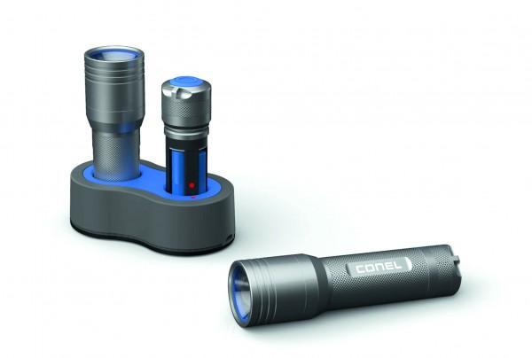 LED Taschenlamp.CONEL CT7R 220lm 180m 4h High Performance Line,USB-ladbar,4x AAA