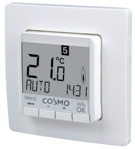 COSMO Uhrenthermostat 230 V digital UP 50x50 mit Display beleuchtet