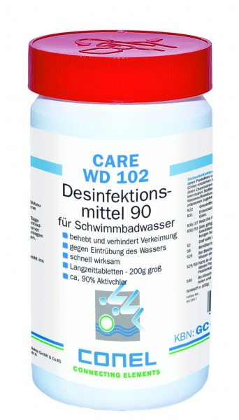 CARE WD 102 Clearwater 90 Aktivchlor 1kg Dose Desinfektionsmittel-Tabs 200g CONEL